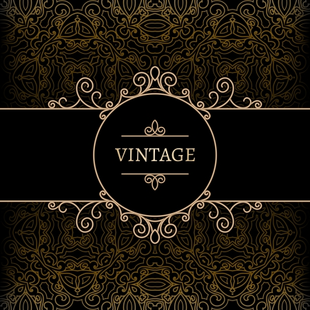 Vintage background, gold label with swirly decoration