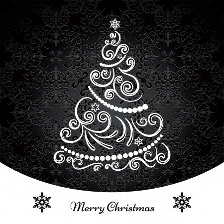 swirly: Christmas tree, ornamental swirly background