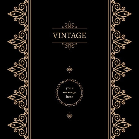 Vintage background with gold decorative elements on black Vector