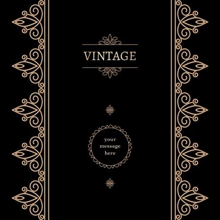 vertical banner: Vintage background with gold decorative elements on black Illustration