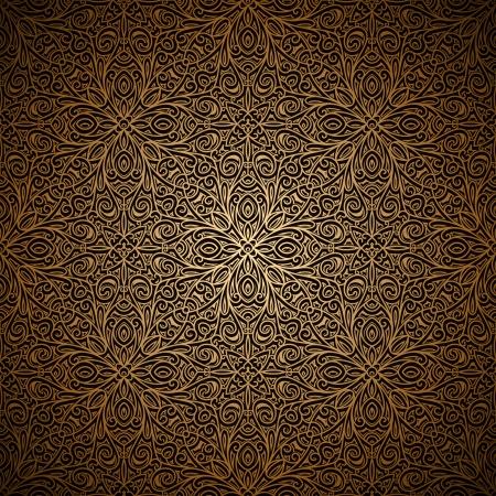 ヴィンテージ ゴールド シームレス パターン、装飾的な背景