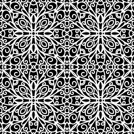 White lace ornament on black, seamless pattern Vector