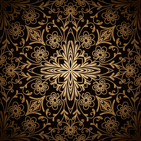 vintage scrolls: Vintage gold ornament on black, abstract seamless pattern