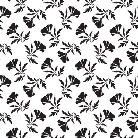monochromatic: Abstract black flower silhouettes on white, seamless pattern