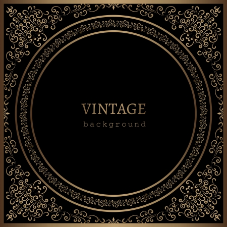 Vintage gold frame on black background Vector