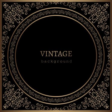 vintage gold frame: Vintage gold frame on black background