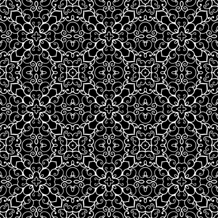 ornate background: White lace ornament on black, abstract seamless pattern