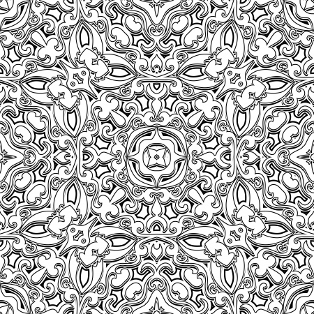 Black and white background, vintage ornament, seamless pattern Vector