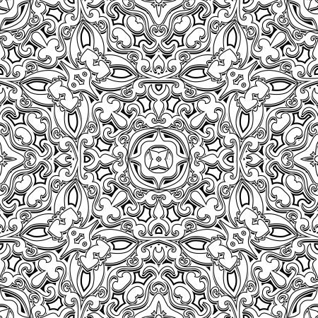 vintage scrolls: Black and white background, vintage ornament, seamless pattern Illustration