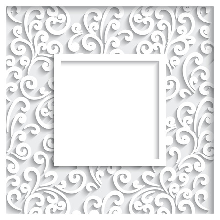 Abstract frame with paper swirls, decorative ornamental background Vector