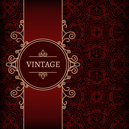 Vintage background, ornamental gold label over red pattern Vector