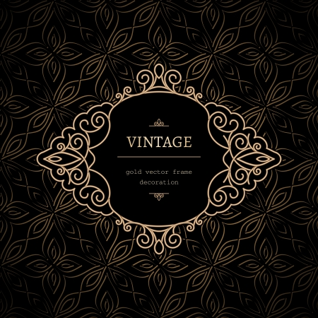 Vintage, decorative frame with gold swirls Vector
