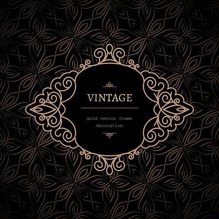 curlicue: Vintage, decorative frame with gold swirls Illustration