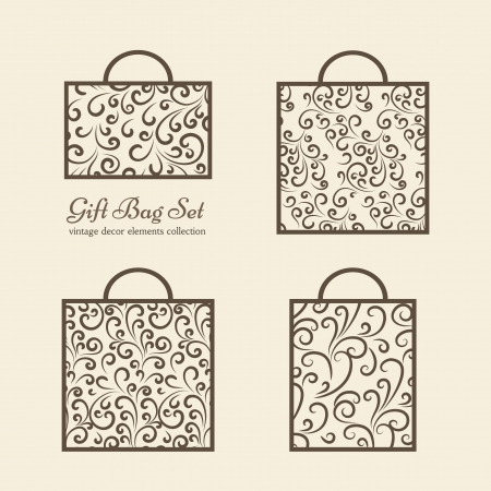Set of shopping gift bags, ornamental icons Vector