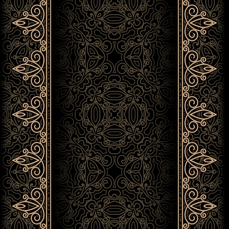 vertical dividers: Vintage gold with ornamental seamless borders