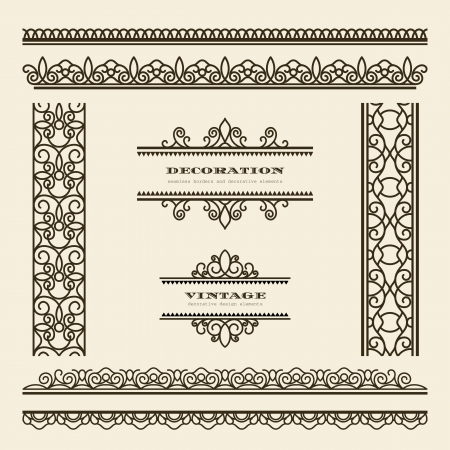 Set of vintage ornamental borders and dividers Vector