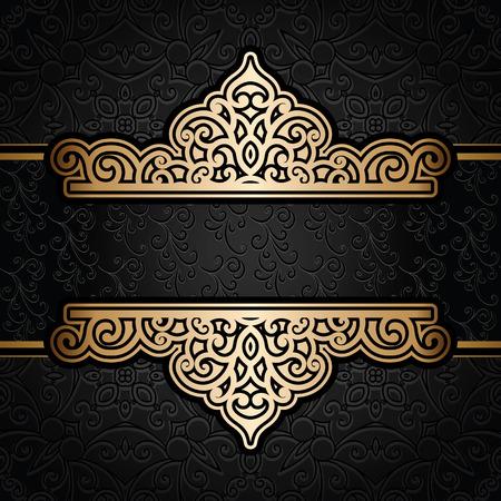 ornamental borders: Vintage gold frame over damask black background