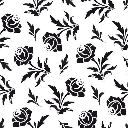 black rose: Black flowers on white, seamless floral pattern