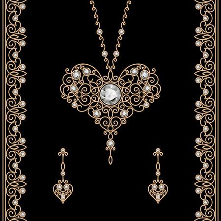 Set Weinlesegoldschmuck mit Diamanten, isoliert auf schwarz
