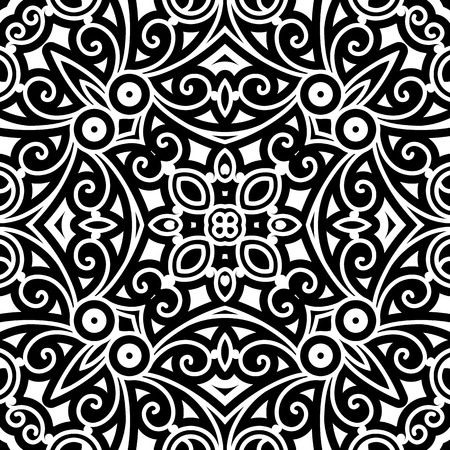 abstract swirls: Black and white seamless pattern, decorative damask ornament