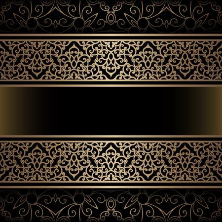 dividers: Vintage gold background with ornamental borders