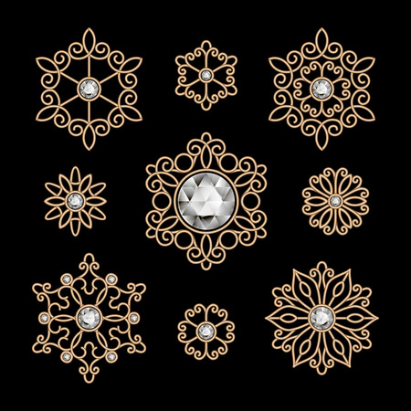 Gold jewelry, set of decorative elements on black Vector