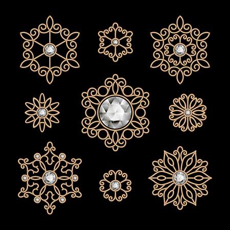 Gold-Schmuck, Set von dekorativen Elementen auf schwarz