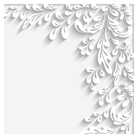 leaf curl: Abstract white floral background with paper swirls
