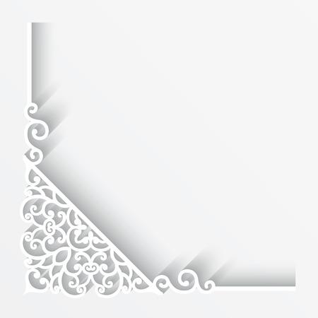 finestra: Angolo di carta ornamento su sfondo bianco Vettoriali