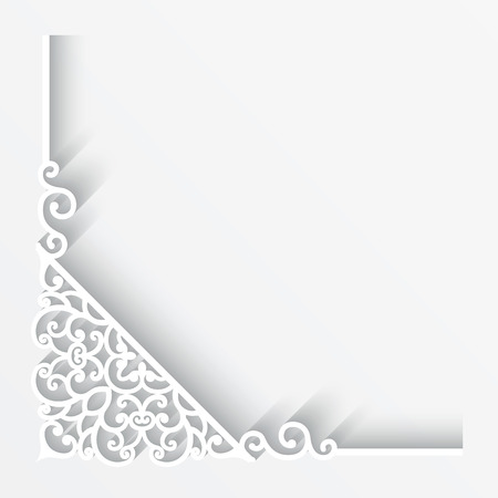 Paper corner ornament on white background Vector