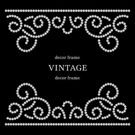 black swirls: Dotted swirls, diamond pattern on black background