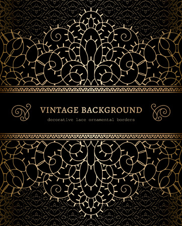seamless metal: Vintage gold background with ornamental lacy borders