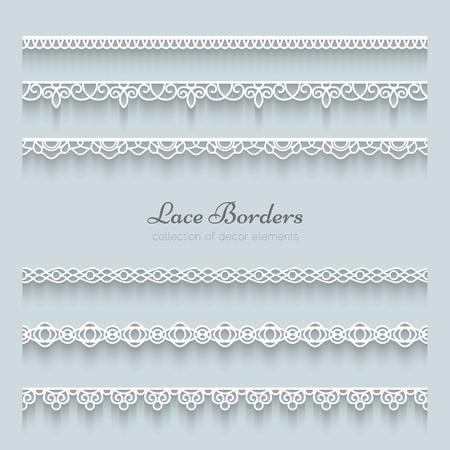 Conjunto de fronteras del cordón con la sombra, líneas de papel ornamentales Foto de archivo - 26057023
