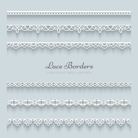 Set of lace borders with shadow, ornamental paper lines