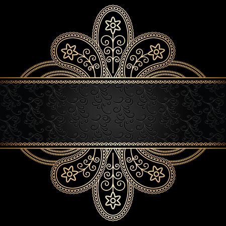 Floral gold ornament on black, decorative golden frame
