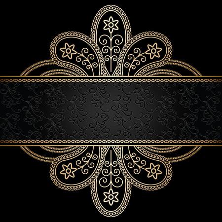 Ornamento de oro floral en negro, marco decorativo de oro Foto de archivo - 26162715