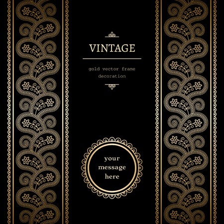 Vintage gold with seamless borders on black Vector