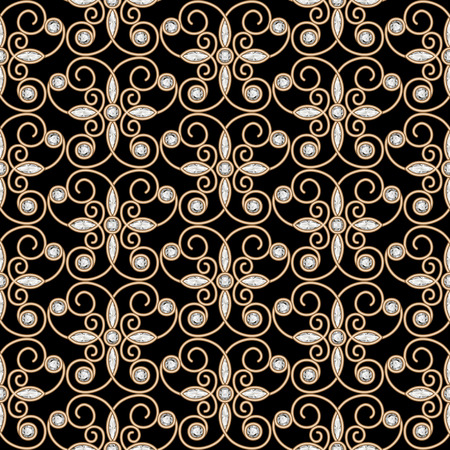 ornament  jewellery: Vintage gold ornament, jewelry seamless pattern with diamonds