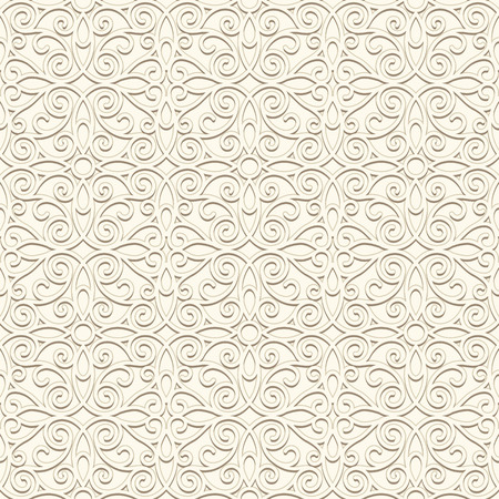 White, vintage ornament, seamless pattern in light color Vector
