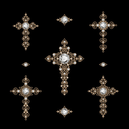 Jewelry set of antique Christian Crosses decorated with diamonds, isolated on black Vector