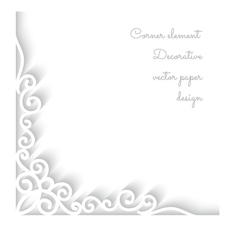 Abstract background with paper corner ornament on white