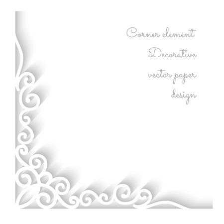 Zusammenfassung Hintergrund mit Papier-Ecke Ornament auf weißem