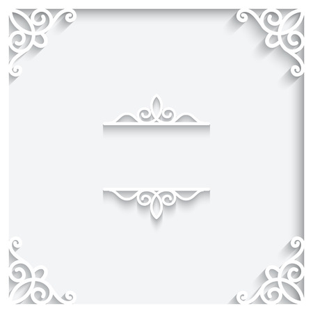 Abstract paper frame on white background