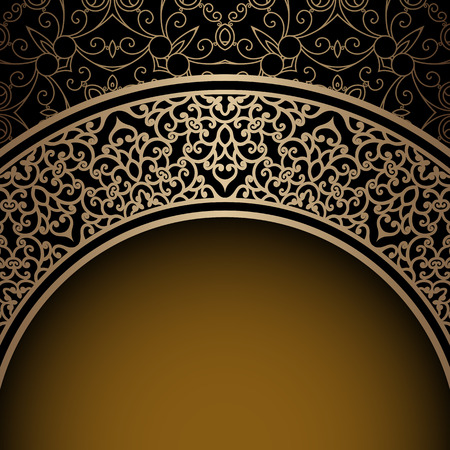 Vintage background, ornamental gold frame over pattern Vector