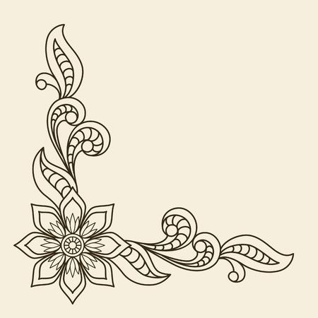 esquineros de flores: Fondo de la vendimia con el ornamento floral esquina Vectores