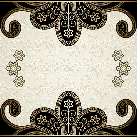 Vintage gold background, decorative frame over damask pattern Vector