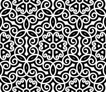 Black and white swirly ornament, damask seamless pattern Vector