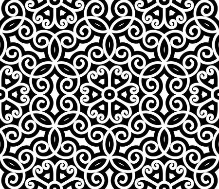 Black and white swirly ornament, damask seamless pattern Illustration