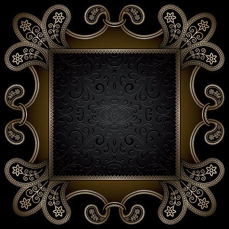 bordure de page: Vintage fond d'or, cadre d'ornement carr� sur fond noir Illustration