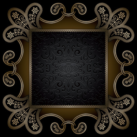 old square: Vintage gold background, square ornamental frame on black Illustration